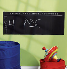 WALLIES ALPHABET CHALKBOARD wall sticker decal chalk ABC letters shapes black