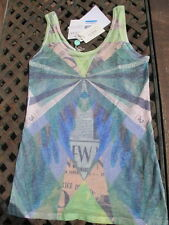 stunning new GUESS T SHIRT in ART DECO muted blues DIGITAL PRINT-BNWT M-UK8 £175
