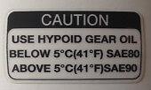 KAWASAKI Z1300 KZ1300 Calcomanía de advertencia de Aceite de engranaje hipoide