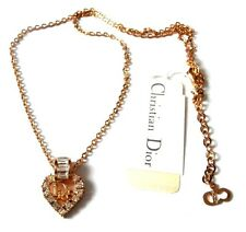 Signed Christian Dior Symbol Necklace Gold Plated w/Heart Pendant w/Crystals (D)