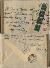 RSI-Striscia quattro 25c(505)Monumenti distrutti-Busta PIOVE DI SACCO 21.12.1944