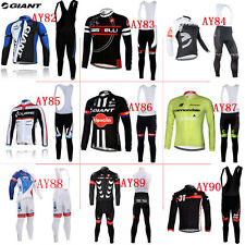 Winter Thermal Fleece long sleeve cycling jersey set Bib Pants uk-3q7nm