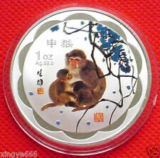 Fine Chinese Lunar Zodiac Colored Silver Coin - Year of the Monkey