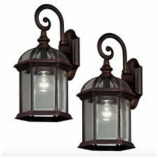 Outdoor Exterior Porch Wall Light Lantern Sconce Fixture Bronze Glass Shade Set