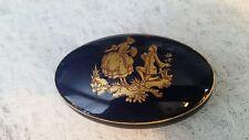 Vintage France Limoges oval Courting Couple  Trinket Box Cobalt blue & gold