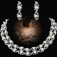 Donna Fedi Nuziali E Gioielli Cristallo Perle Collane Orecchini Set iliance