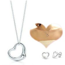 Style Womens Silver Open Heart Pendant & Chain Necklace Plated Silver 925 Hot KJ