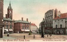 Market Place Louth pc used 1905 Skeleton postmark Chas Parker