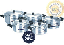 KITCHEN KING 10PC STEW POT COOKING POT SET ALUMINIUM CASSEROL PAN SAUCEPAN POT