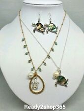 Abalone Sea Life Turtle Pendant Chain Ocean Silver Beach Necklace Animal Gold US