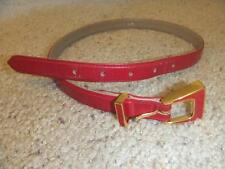 St. John Red leather Belt Gold and Red Metal Buckle Size P