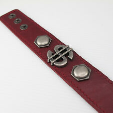 Mens Womens Dollar Sign Money Symbol Studs Brown Leather Wristband Bracelet NEW