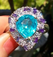 "Wow! 3.85ct Natural Neon ""Paraiba pool hue"" Apatite  Sterling Silver Ring 10"