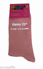 Happy 70th its only 13 in Scrabble Printed Ladies Pink Socks 70th Birthday Gift