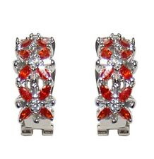 RED & CLEAR CLUSTER CUBIC ZIRCONIA HOOP-OMEGA-FRENCH BACK EARRING 23MM