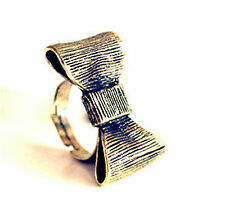 Adjustable hunky vintage retro style bronze bow ring