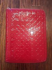 Coach Red Patent Leather Zip Around Notebook Case Silver Hardware