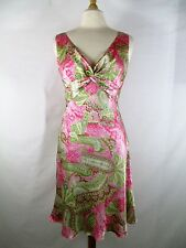 Morrell Maxie Sz 10 Silk Paisley Floral Sleeveless Dress Pink Green
