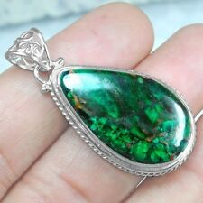 Fine 9.02 Grams 925 Sterling Silver Hand Made Chrysocolla Pendant Pear Jewelry $