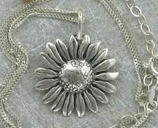 925 Sterling Silver Sunflower Necklace, Flowers & Garden Theme