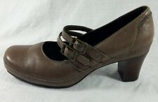 Clarks Artisan Active Air Taupe Leather Mary Jane Heels Womens Size 7 M