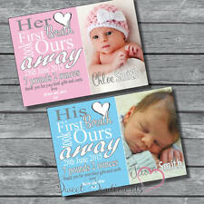 Personalised Photo Girl Christening Birth Announcement  Thank You Cards Pk 10