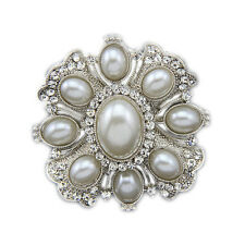 Vintage Style Corsage Weddings Silver White Pearl Flower  Brooch Pin BR400