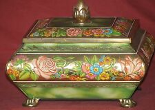 Candy Tin Chest - Blue Bird - Hand Painted Embossed Floral Pattern