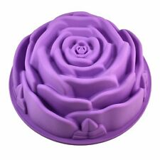 "9"" Rose Flower Birthday Cake Bread Tart Flan Silicone Baking Mould Tin Bakeware"