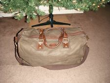 AUTHENTIC FOSSIL PLAID CANVAS & LEATHER TRIM LARGE DUFFLE BAG W/ CROSSBODY STRAP