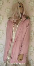 Rare! *Vintage Dusky Pink Antique Rose* Brown Grey Fur Hood Parka Jacket Coat 12