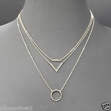 Silver Finish Simple Dainty Triple Layer Chain Circle Triangle Pendant Necklace
