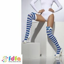 BLUE & WHITE STRIPE OPAQUE HOLD UPS STOCKINGS + BOWS ladies womens hosiery