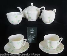 BELLEEK Ireland Fine Parian China-HARP SHAMROCK TEA SET-7PCS