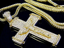 Hip Hop Franco Chain Necklace Pendant Gold Cross Jesus Crystal Iced Out Chunky