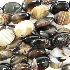 "18mm black brown stripe agate flat oval beads 15.5"" strand"