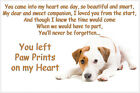 Jack Russell Dog Terrier Pet loss Bereavement Gift Paw Prints on Heart