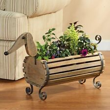 Wooden Dachshund Weiner Dog Flower Planter Herb Garden, Magazine / Book Holder