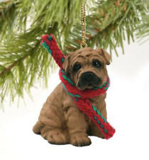 SHAR PEI DOG CHRISTMAS ORNAMENT HOLIDAY Figurine Scarf