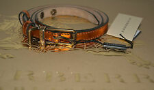 NIB BURBERRY METALLIC LEATHER BELT SZ 34/85 MADE IN ITALY