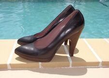 MIU MIU BLACK LEATHER WOOD HEEL PLATFORM PUMPS Sz 38M MADE IN ITALY