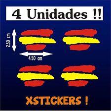 PEGATINAS (4 UNIDADES) - BANDERA DE ESPAÑA - VINILO - Bici -Moto - Coche - Surf