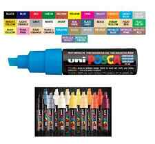 28 UNI POSCA ANY SURFACE PERMANENT PAINT MARKERS PC-8K GLASS PEN 8mm CHISEL TIP