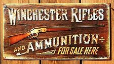 Vintage WINCHESTER RIFLES Metal Sign Gun Tin Wall Art Man Cave Garage Home Decor