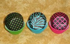 Neon Darks, Fashion Bake Cups, Wilton, 150 count, Cupcake papers, New, Zebra