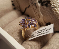 Beautiful AA Tanzanite Cluster Ring in 14k gold overlay Sterling Silver 'K'