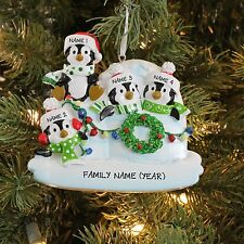 Igloo Penguin Family of 4 Personalized Christmas Tree Ornament Holiday Gift 2016
