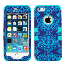 Apple iPhone 5S Rubber IMPACT TUFF HYBRID Case Skin Phone Cover Blue Damask