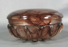 30`ART DECO GERMAN WALTHER ULM SEPIA ORALIT CLOUD GLASS POWDER BOWL BOX DISH JAR