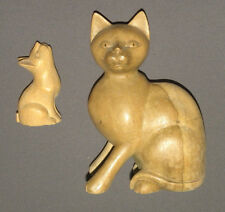 Vintage Wooden Cat Figure Set Mother & Kitten Figurines Solid Wood